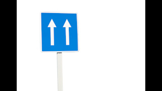 Double Lane Road Sign Arrows Isolated on White