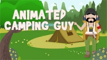 Animated Camping Guy with Backdrop and GreenScreen