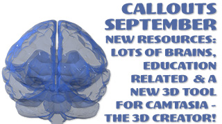 Callouts September – Education, Brains and 3D Creator for Camtasia