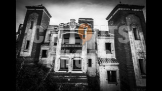 Haunted House in Black and White with Masked Character