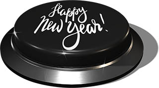 3D Render of big juicy button: Happy New Year Black 1
