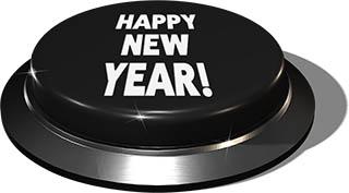 3D Render of big juicy button: Happy New Year Black