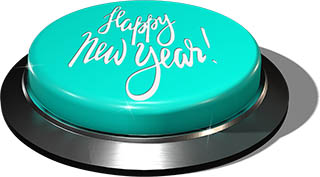 3D Render of big juicy button: Happy New Year Blue