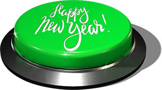 3D Render of big juicy button: Happy New Year Green