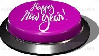 3D Render of big juicy button: Happy New Year Purple