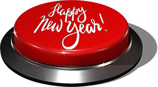 3D Render of big juicy button: Happy New Year Red