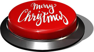 3D Render of big juicy button: Merry Christmas Red