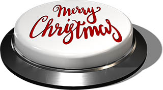 3D Render of big juicy button: Merry Christmas White