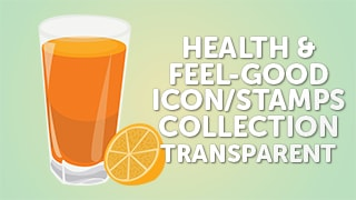 Health Feel-Good Icon Stamps Collection Flat Transparent