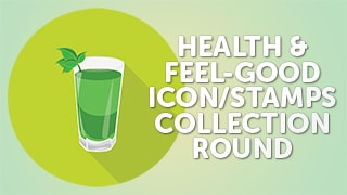 Health Feel-Good Icon Stamps Collection Flat Round