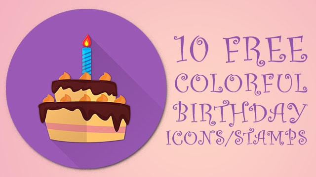 Free Colorful Round Flat Birthday Icons