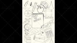 Back to School Doodle Poster 01 Yellow Paper Portrait