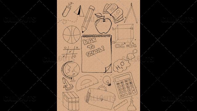 Back to School Doodle Poster  02 Vintage Paper Portrait