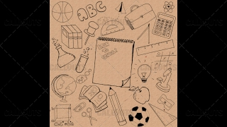 Back to School Doodle Poster 02 Vintage Paper Square