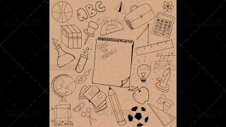 Back to School Doodle Poster 02 Vintage Paper Square