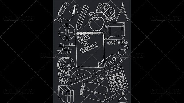 Back to School Doodle Poster  03 Blackboard Portrait