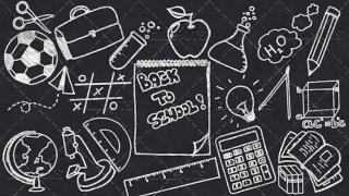 Back to School Doodle Poster 03 Blackboard  Landscape