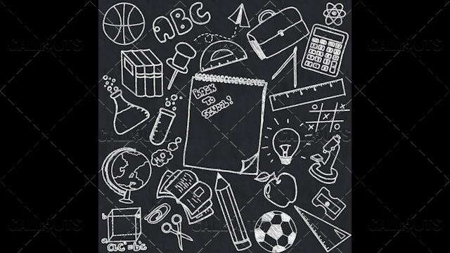 Back to School Doodle Poster 03 Blackboard  Square