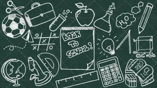 Back to School Doodle Poster 04 Chalkboard Landscape