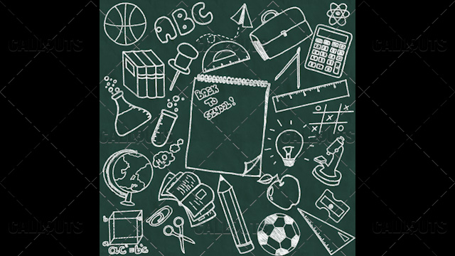 Back to School Doodle Poster 04 Chalkboard Square