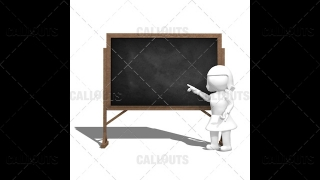 3D Girl Teacher Pointing at Blackboard and Explaning on White Background