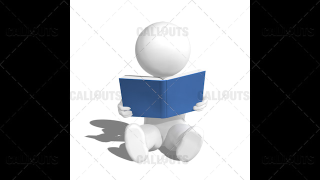 3D Guy Sitting Reading Book on Floor on White Background