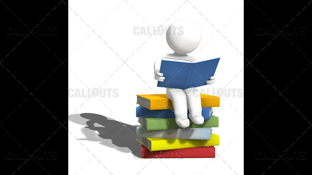 3D Guy Sitting Reading Book on a Pile of Large Books White Background