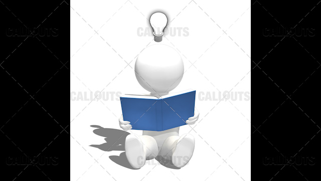 3D Guy Sitting Reading Book on Floor Get Lightbulb Idea on White Background