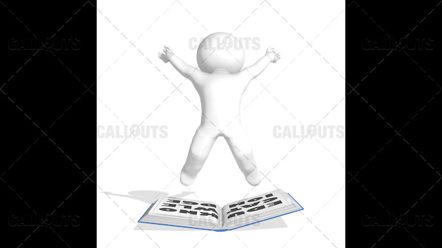3D Guy Reading Education is Knowledge Jumping Happy on White Background