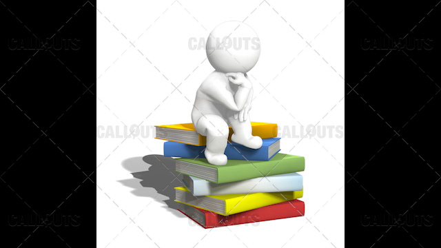 3D Guy Thinking on Pile of Books, Inspired by Thinking Man Statue, White Background