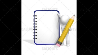 3D Guy Standing with Pencil Next to Empty Notebook, Space for Text, White Background