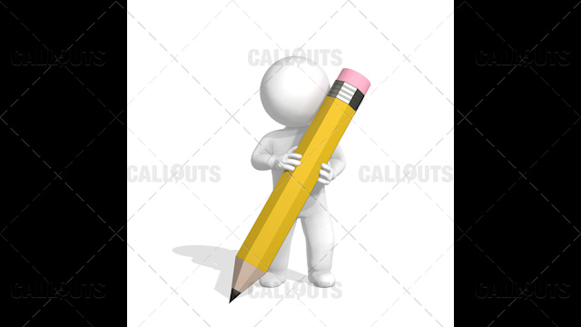 3D Guy Writing with Large Pencil on Floor on White Background