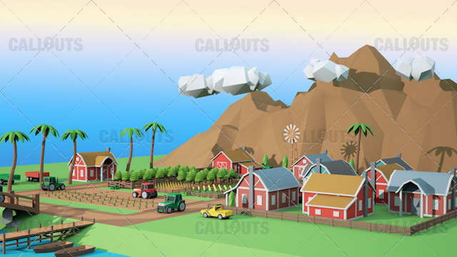 Farm Concept 01 Polygon Styled Presentation Image – Farm Overview