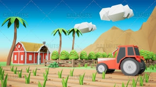 Farm Concept 02 Polygon Styled Presentation Image – Tractor and Fields