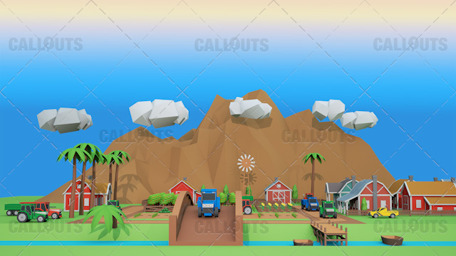 Farm Concept 05 Polygon Styled Presentation Image – Farm Overview