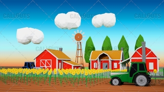 Farm Concept 06 Polygon Styled Presentation Image – Tractor Sunflowers Farm