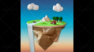 Farm Concept 07 Polygon Styled Presentation Image – Floating Cliff Square