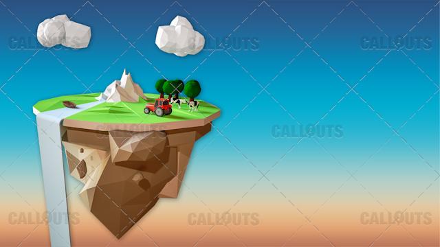 Farm Concept 08 Polygon Styled Presentation Image – Floating Cliff Landscape