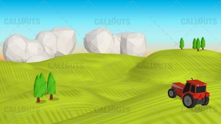 Farm Concept 09 Polygon Styled Presentation Image – Tractor Rolling Hills