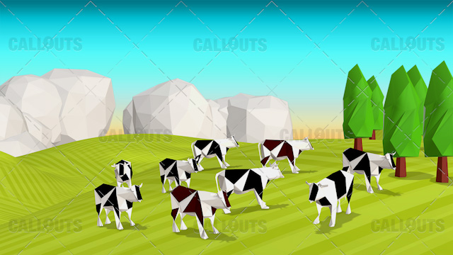 Farm Concept 10 Polygon Styled Presentation Image – Cows Rolling Hills