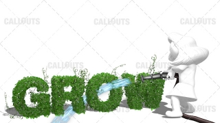 3D Girl Watering the Text Grow with a Large Firemans Waterhose White Background
