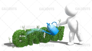 3D Guy Watering the Text Grow with a Wateringpot White Background