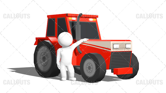 3D Guy Standing Proud In Front of Red Tractor White Background