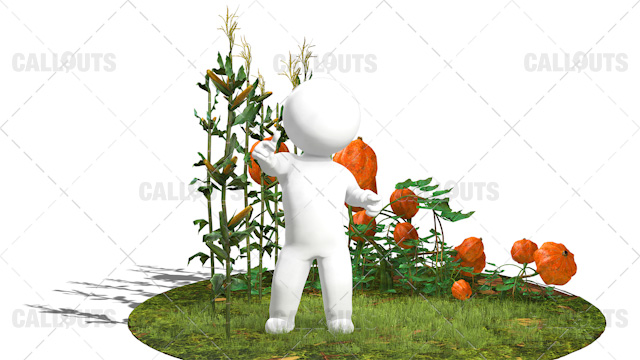 3D Guy Standing in Field of Corns and Pumpkin Plants on Round Area White Background
