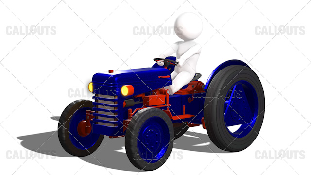 3D Guy Driving New Metallic Painted Blue Tractor