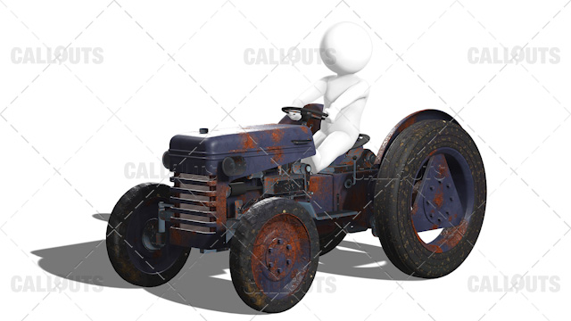 3D Guy Driving Old Rusty Tractor