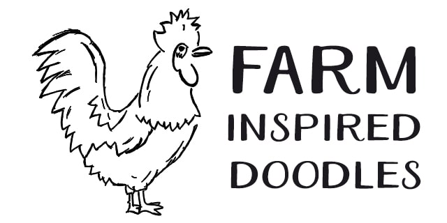 Farm Agriculture Doodle Graphics BW