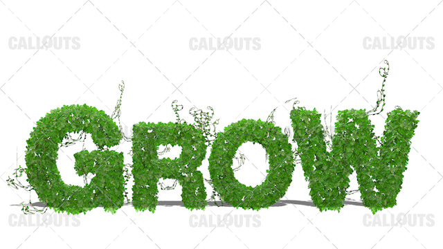Grow Concept 3D Text Background on White