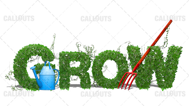 Grow with Tools Concept 3D Text Background on White