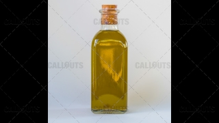 Homemade Olive Oil Bottle on White Background
